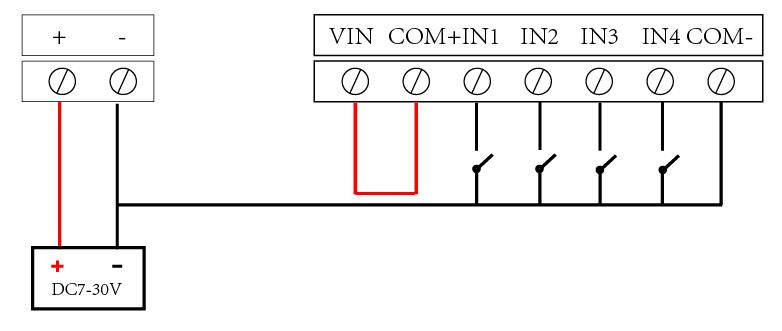 无源开关量接线示意图